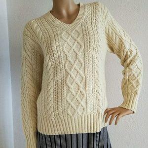 J Crew Hand-knit Wool Cream Beige Sweater M